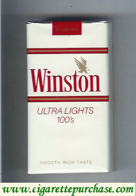 Discount Winston with eagle from above in the right Ultra Lights white 100s cigarettes soft box