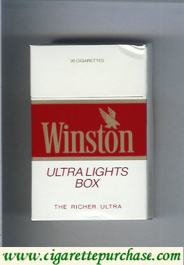 Discount Winston with eagle from above in the right Ultra Lights white and red cigarettes hard box