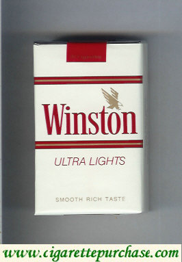 Discount Winston with eagle from above in the right Ultra Lights white cigarettes soft box