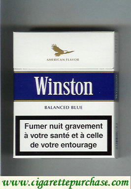 Discount Winston with eagle from above on the top American Flavor Balanced Blue 25s cigarettes hard box