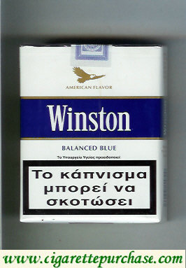 Discount Winston with eagle from above on the top American Flavor Balanced Blue 25s cigarettes soft box