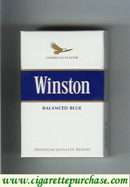 Discount Winston with eagle from above on the top American Flavor Balanced Blue cigarettes hard box