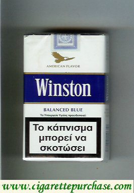 Discount Winston with eagle from above on the top American Flavor Balanced Blue cigarettes soft box