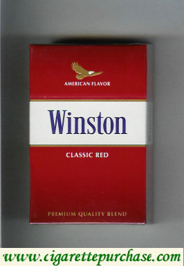 Discount Winston with eagle from above on the top American Flavor Classic Red cigarettes hard box