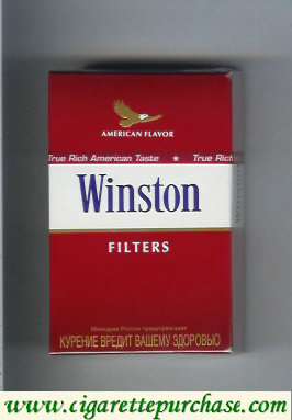 Discount Winston with eagle from above on the top American Flavor Filters cigarettes hard box