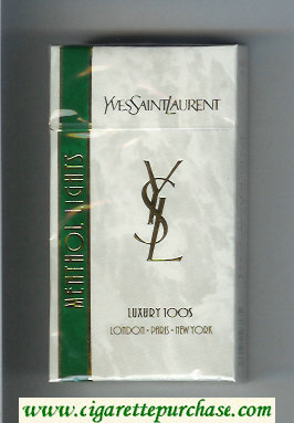 YSL Yves Saint Laurent Menthol Lights Luxury 100s cigarettes hard box