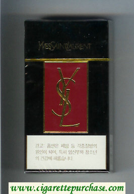 YSL Yves Saint Laurent 100s cigarettes black and red hard box