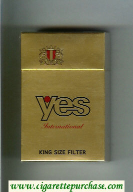 Yes International cigarettes gold hard box