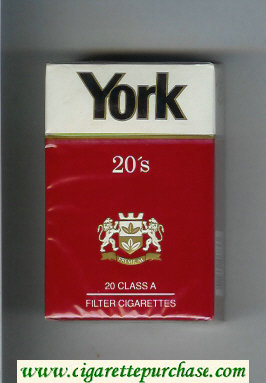 York cigarettes red and white hard box