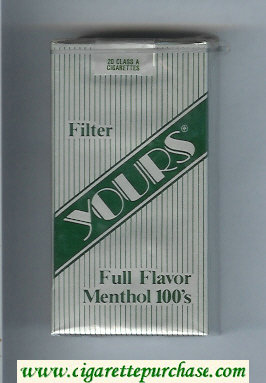 Yours 'R' Full Flavor Menthol 100s cigarettes silver and green soft box