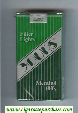 Yours 'R' Lights Menthol 100s cigarettes green and silver and dark green soft box