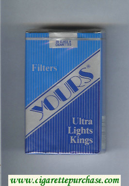 Discount Yours 'R' Ultra Lights cigarettes blue and silver and dark blue soft box