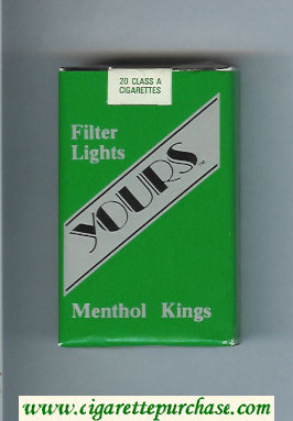 Yours 'TM' Lights Menthol cigarettes green and silver soft box