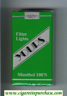 Yours 'TM' Lights Menthol 100s cigarettes green and silver soft box