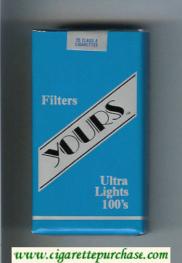 Yours 'TM' Ultra Lights 100s cigarettes blue and silver soft box