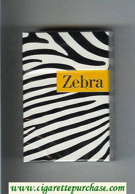 Discount Zebra cigarettes white and black and yellow hard box