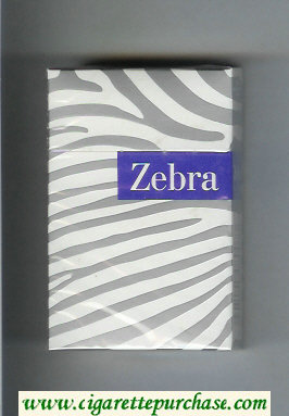 Discount Zebra cigarettes white and grey and blue hard box