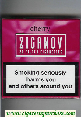 Discount Ziganov Cherry cigarettes wide flat hard box
