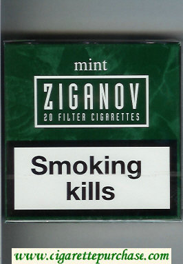 Ziganov Mint cigarettes wide flat hard box